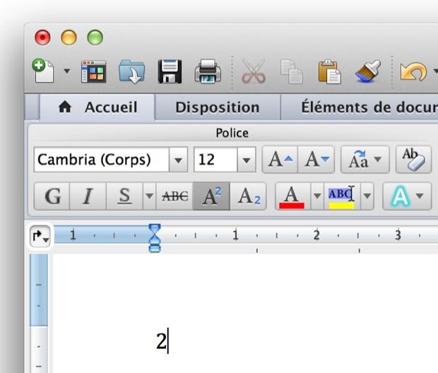 Word intègre son propre système pour les exposants et indices.