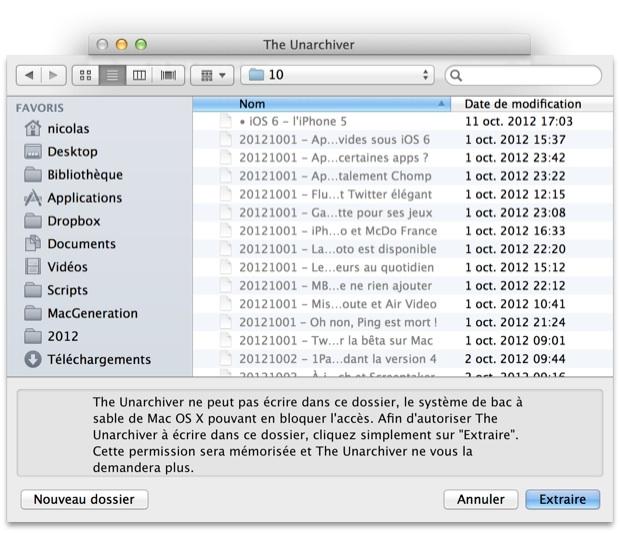 The Unarchiver en Retina sur Mac et sur l'App Store iOS