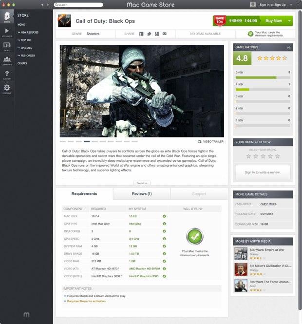 mac game store une application de vente de jeux. Black Bedroom Furniture Sets. Home Design Ideas