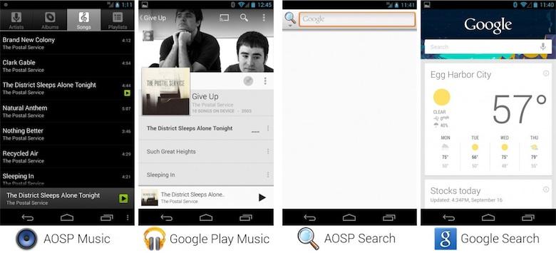 Les applications de l'AOSP contre les applications de Google. Image Ars Technica.