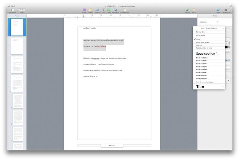 Il faut deux clics pour changer les styles de texte dans Pages.