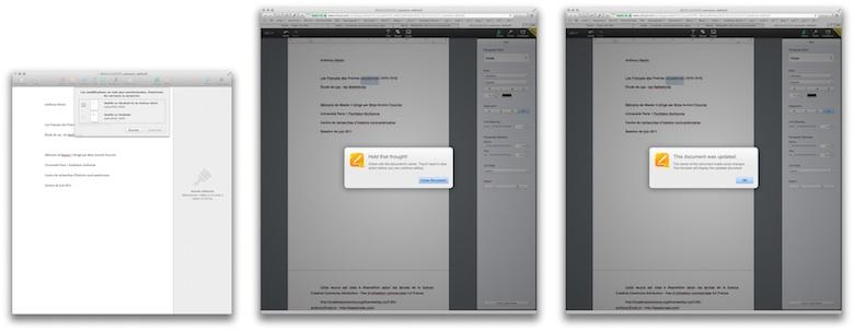 Quelques messages d'erreur d'iCloud.