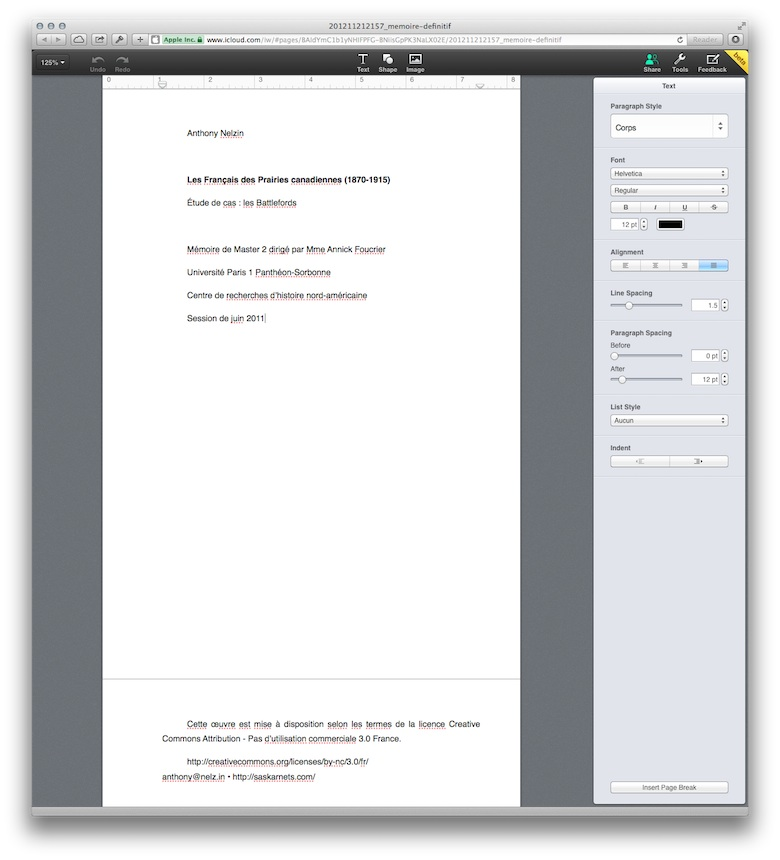 Édition d'un document Pages sur iCloud.
