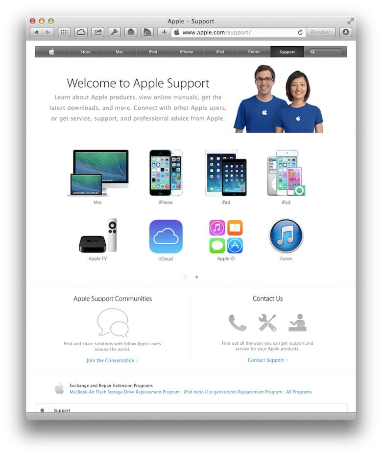 La nouvelle présentation de l'accueil de l'assistance client en ligne. Les autres pages n'ont pas bougé d'un iota.