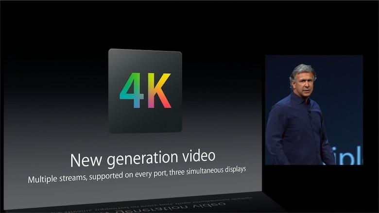 Lors de la présentation du Mac Pro à la WWDC 2013, Phil Schiller a explicitement mentionné le Multi-Stream Transport. Cette fonction qui permet de chaîner plusieurs écrans sur un port DisplayPort 1.2 est exploitée par la plupart des écrans 4K 60 Hz : ils s'identifient comme deux écrans 2K 60 Hz et demandent donc deux demi-images 4K, l'image finale étant reconstituée logiciellement. Les autres machines d'Apple n'en bénéficient pas, et ne peuvent donc exploiter pleinement les écrans 4K en Thunderbolt.