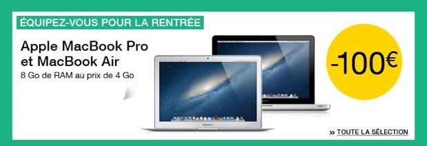 promo CAgo de ram au prix sur certains macbook air et pro