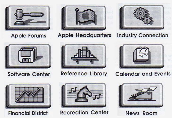 Les icônes d'AppleLink. Image Apple.
