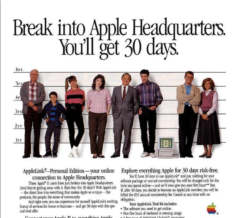 Extrait d'une publicité pour AppleLink Personal Edition, « votre connexion au QG d'Apple ».