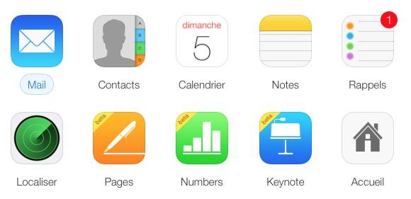 Les icônes d'iCloud.