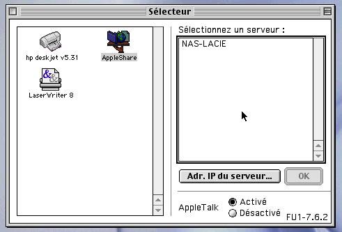 Sélecteur était une petite application système qui permettait de choisir facilement son imprimante ou d'accéder à un serveur de fichiers (image : Cuk)