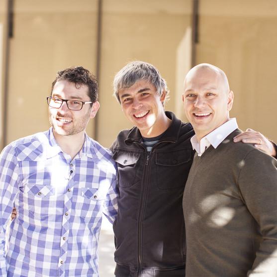 De gauche à droite : Matt Rogers, Larry Page et Tony Fadell