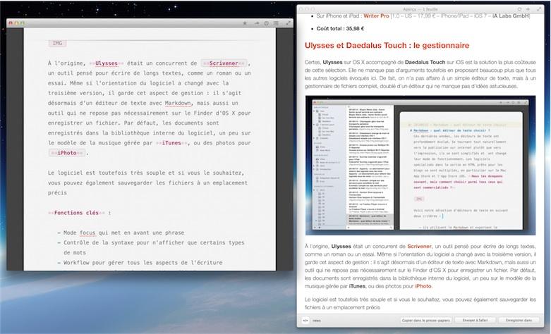 Ulysses ne prend pas nécessairement toute la place : on peut aussi le réduire à un simple éditeur. Ici, on affiche la prévisualisation intégrée.