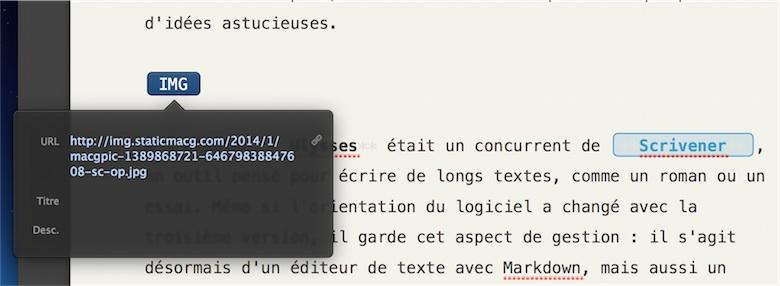 Ulysses marque la présence d'une image ou d'un lien par des encadrés de couleur, mais l'URL qui n'a aucune importance est masquée. On peut cependant l'afficher et la modifier en double-cliquant sur le cadre.