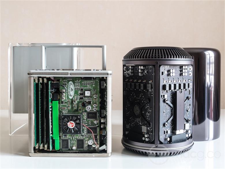 À gauche le Power Mac G4 Cube, à droite le nouveau Mac Pro. Les deux machines possèdent des similarités frappantes.