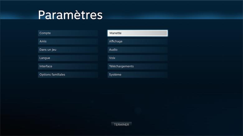 Tout une section des réglages est dédiée au paramétrage des manettes. Toutes les fonctions sont accessibles, même le clavier —qui s'utilise très intelligemment avec les joysticks.