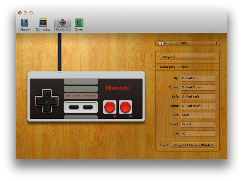 On fait ici correspondre une manette de PlayStation 3 à une manette de NES.